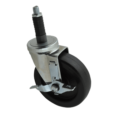 "FMP 120-1089 Standard-Duty 5"" Stem Caster with Brake Solid polyolefin hub and wheel"