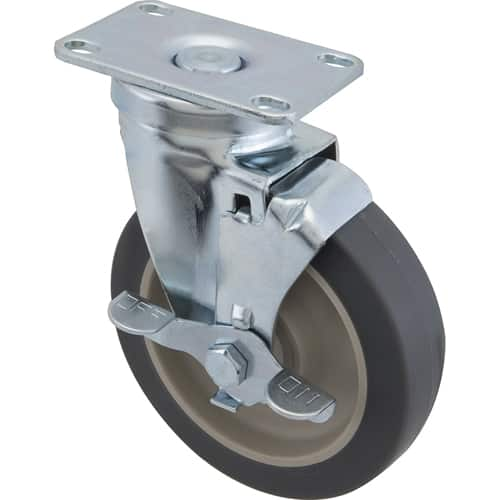 """FMP 120-1102 Medium-Duty 5"""" Plate Caster with Brake Gray rubber wheel with plastic hub"""