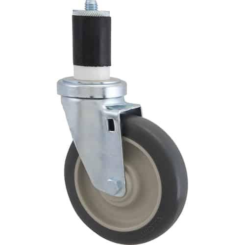 "FMP 120-1124 Medium-Duty 5"" Stem Caster Gray polyurethane wheel with plastic hub"