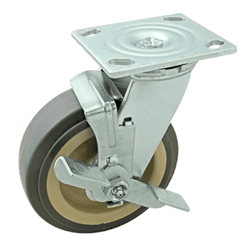 "FMP 120-1151 Heavy-Duty 6"" Plate Caster with Brake Gray polyurethane wheel with plastic hub"