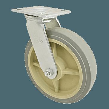 "FMP 120-1155 Heavy-Duty 8"" Plate Caster Gray polyurethane wheel with plastic hub"