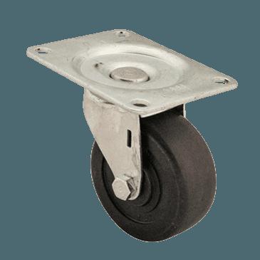 "FMP 120-1173 Swivel Dolly 3"" Plate Caster Hard black rubber wheel"