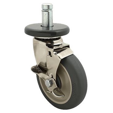 FMP 126-1521 Stem Caster with Brake for Super Erecta Series Gray polyurethane wheel  includes caster bumper