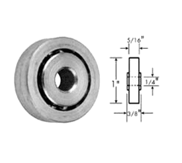 "FMP 132-1005 Zinc-Plated Steel Roller Roller is countersunk for 1/4"" flat head machine screw"