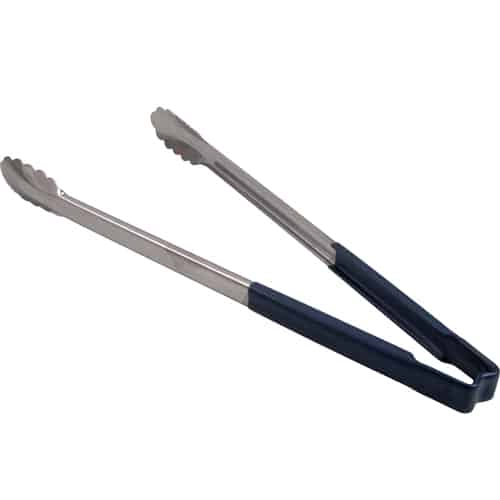 "FMP 137-1207 Kool-Touch Color-Coded Tongs by Vollrath 16"" with scalloped paddle  blue handle"