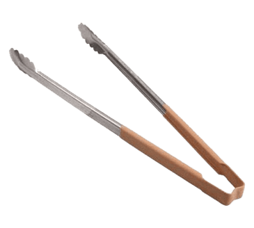 "FMP 137-1210 Kool-Touch Color-Coded Tongs by Vollrath 16"" with scalloped paddle  tan handle"