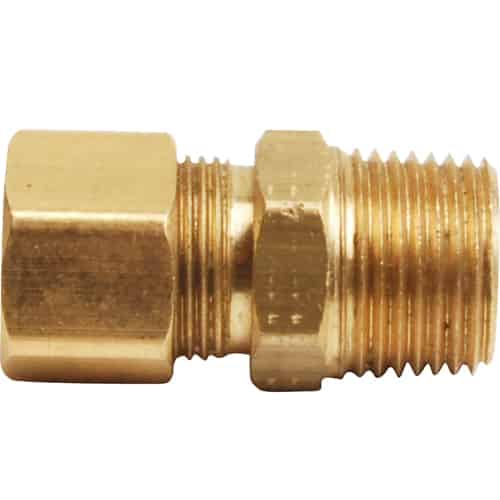 """FMP 158-1081 Brass Male Connector 7/16"""" OD tubing x 3/8"""" NPT"""