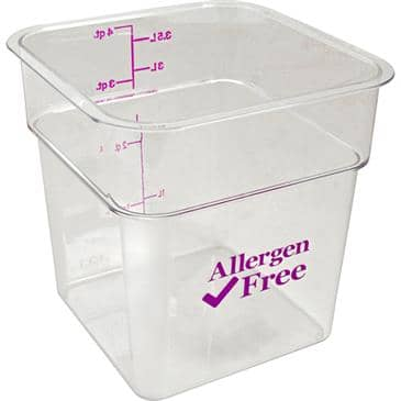 FMP 247-1304 Allergen-Free CamSquare Food Storage Container by Cambro 4 qt