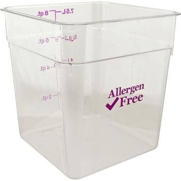 FMP 247-1306 Allergen-Free CamSquare Food Storage Container by Cambro 8 qt