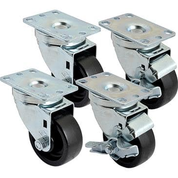 "FMP 256-1398 3"" Swivel Plate Caster Kit Includes 2 casters with brake  2 casters without brake"