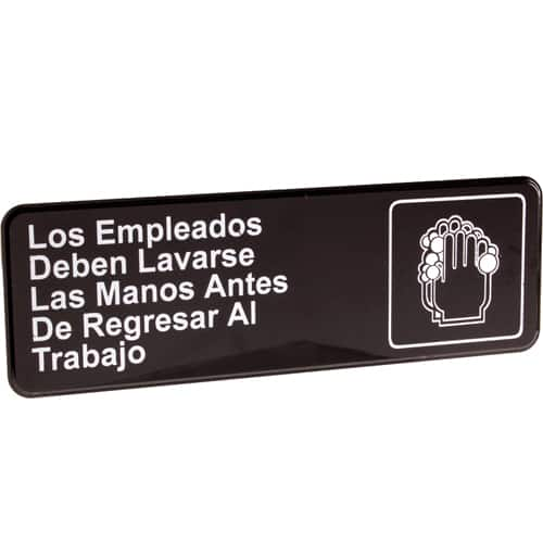 """FMP 280-1193 Wash Hands (In Spanish) Sign 3"""" x 9"""""""