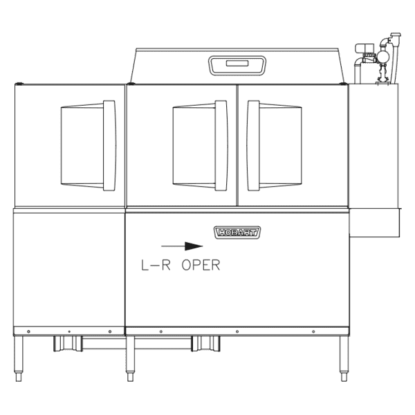 Hobart CLPS76EN-BAS+BUILDUP Conveyor Dishwasher