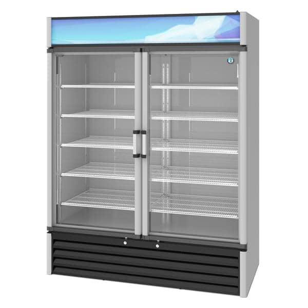 Hoshizaki RM-49-HC 60'' Silver 2 Section Swing Refrigerated Glass Door Merchandiser