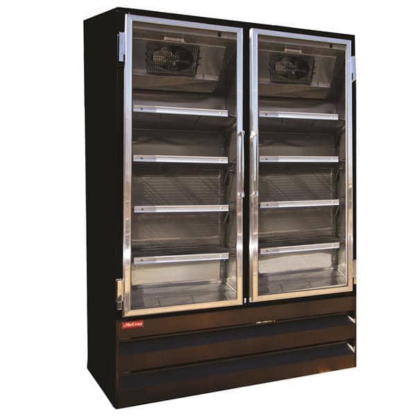 Howard-McCray GF88BM-B-LT 103.75'' 88.0 cu. ft. 4 Section Black Glass Door Merchandiser Freezer