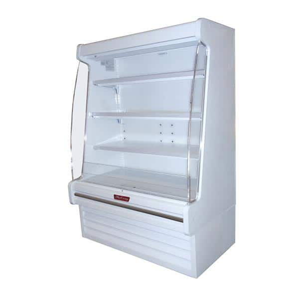 Howard-McCray R-OD30E-10-LED 123.00'' White Vertical Air Curtain Open Display Merchandiser with 3 Shelves
