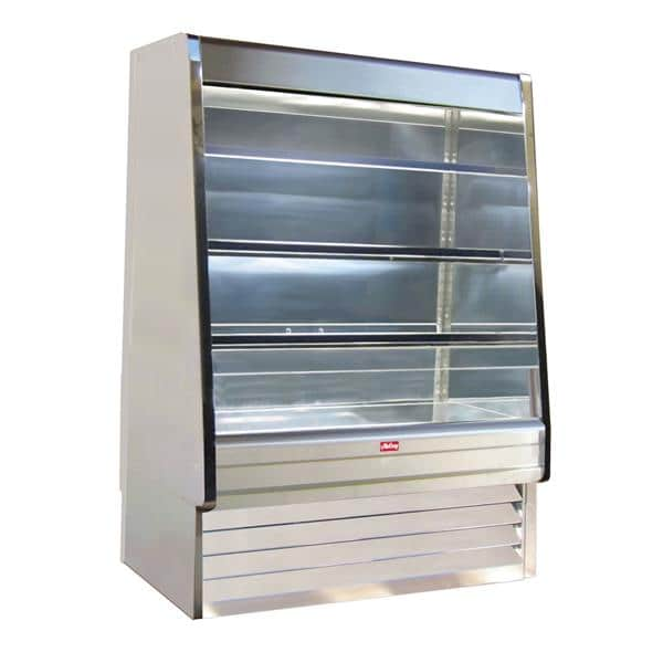 Howard-McCray R-OD30E-10-S-LED 123.00'' Stainless Steel Vertical Air Curtain Open Display Merchandiser with 3 Shelves