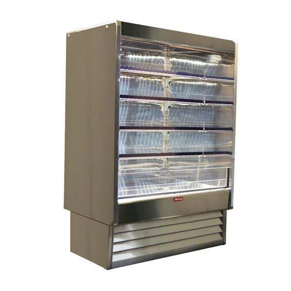 Howard-McCray R-OD35E-10-S-LED 123.00'' Stainless Steel Vertical Air Curtain Open Display Merchandiser with 4 Shelves
