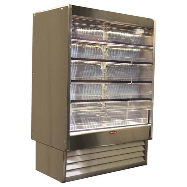 Howard-McCray R-OD35E-4-S-LED 51.00'' Stainless Steel Vertical Air Curtain Open Display Merchandiser with 4 Shelves