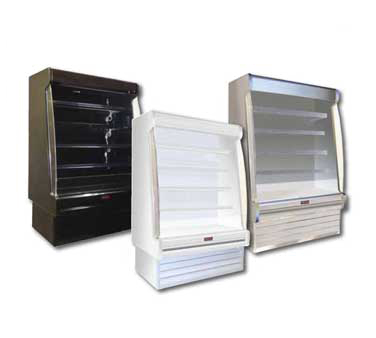 Howard-McCray R-OD35E-4S-S-LED 51.00'' Stainless Steel Vertical Air Curtain Open Display Merchandiser with 4 Shelves