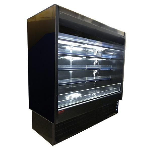 Howard-McCray R-OD35E-8L-B-LED 99.00'' Black Vertical Air Curtain Open Display Merchandiser with 4 Shelves
