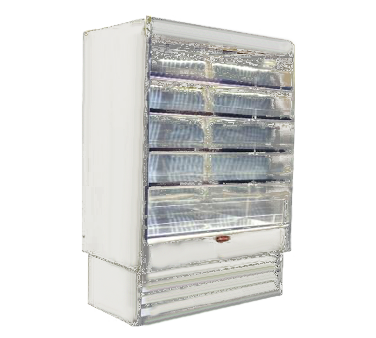 Howard-McCray R-OD35E-8L-LED 99.00'' White Vertical Air Curtain Open Display Merchandiser with 2 Shelves