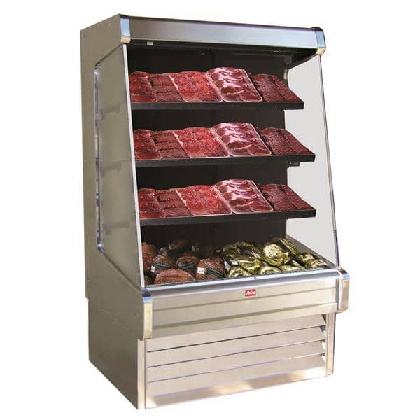 Howard-McCray R-OM30E-8-S-LED 99.00'' Stainless Steel Vertical Air Curtain Open Display Merchandiser with 3 Shelves