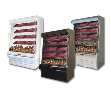 Howard-McCray R-OM35E-10S-S-LED 123.00'' Stainless Steel Vertical Air Curtain Open Display Merchandiser with 4 Shelves