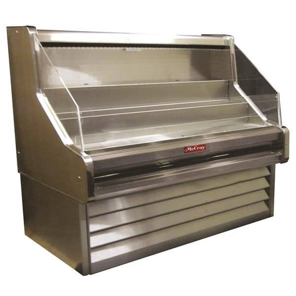 Howard-McCray R-OS30E-5-S-LED 63.00'' Stainless Steel Horizontal Air Curtain Open Display Merchandiser with 3 Shelves