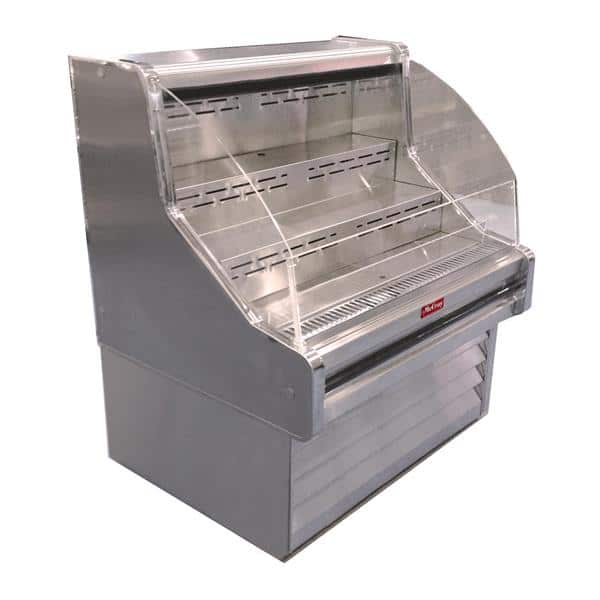Howard-McCray R-OS35E-3C-S-LED 39.00'' Stainless Steel Horizontal Air Curtain Open Display Merchandiser with 3 Shelves