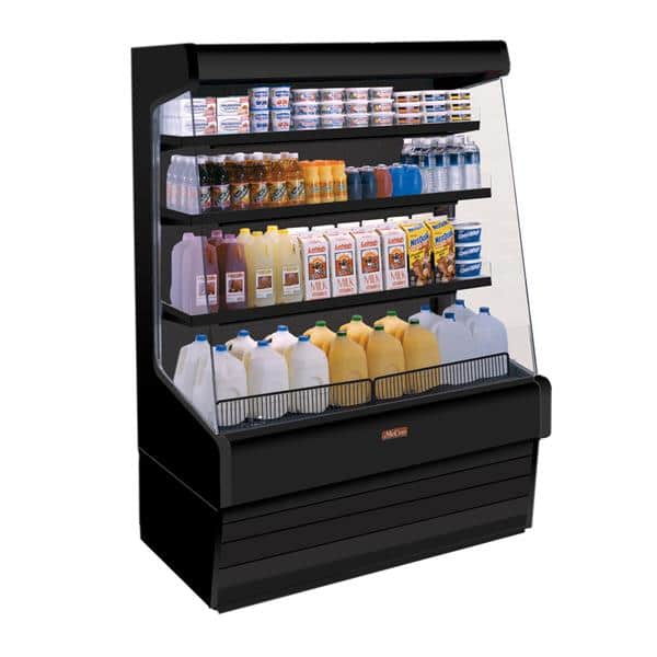 Howard-McCray SC-OD30E-3-B-LED 39.00'' Black Vertical Air Curtain Open Display Merchandiser with 3 Shelves