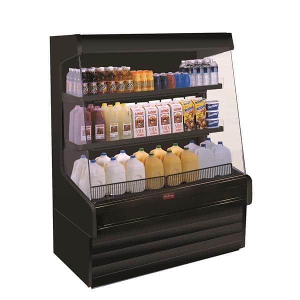 Howard-McCray SC-OD30E-8L-B-LED 99.00'' Black Vertical Air Curtain Open Display Merchandiser with 2 Shelves