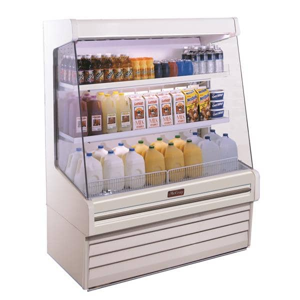 Howard-McCray SC-OD30E-8L-S-LED 99.00'' Stainless Steel Vertical Air Curtain Open Display Merchandiser with 2 Shelves