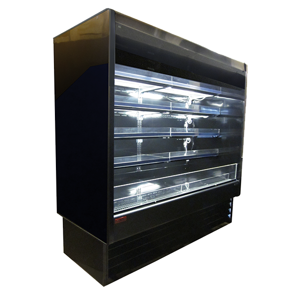 Howard-McCray SC-OD35E-3-B-LED 39.00'' Black Vertical Air Curtain Open Display Merchandiser with 4 Shelves