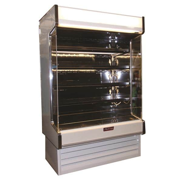 Howard-McCray SC-OD35E-4-B-LED-LC 51.00'' Black Vertical Air Curtain Open Display Merchandiser with 4 Shelves