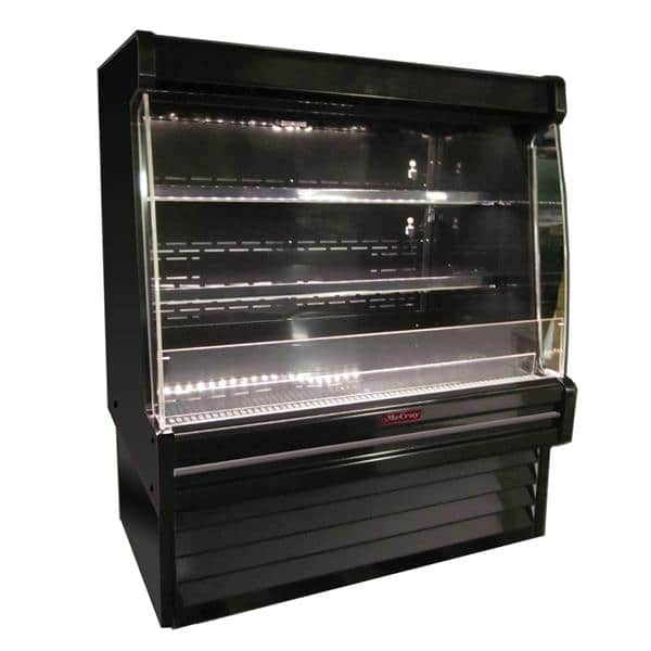 Howard-McCray SC-OD35E-4L-B-LED 51.00'' Black Vertical Air Curtain Open Display Merchandiser with 2 Shelves