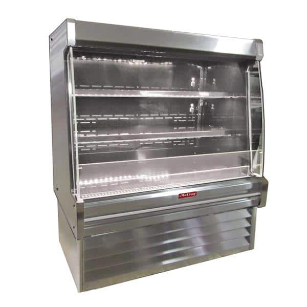 Howard-McCray SC-OD35E-5L-S-LED 63.00'' Stainless Steel Vertical Air Curtain Open Display Merchandiser with 2 Shelves