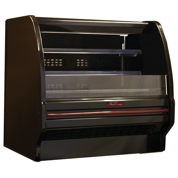 Howard-McCray SC-OD40E-6L-B-LED 75.00'' Black Horizontal Air Curtain Open Display Merchandiser with 2 Shelves