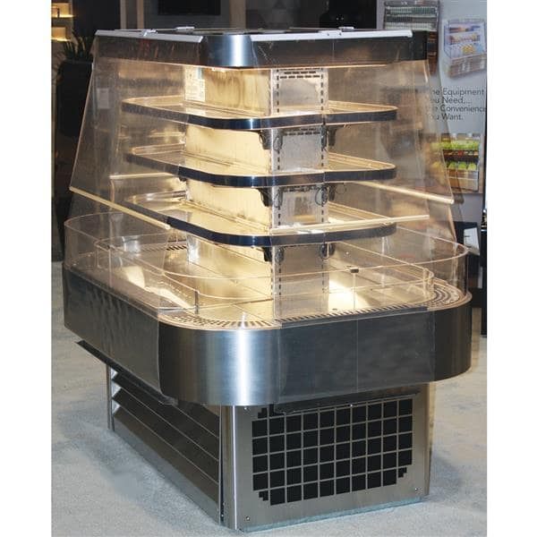 Howard-McCray SC-OD42I-5-S-LED 60.00'' Stainless Steel Island Air Curtain Open Display Merchandiser with 3 Shelves
