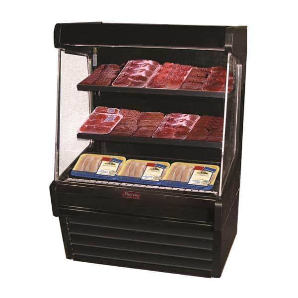 Howard-McCray SC-OM30E-5L-B-LED 63.00'' Black Vertical Air Curtain Open Display Merchandiser with 2 Shelves
