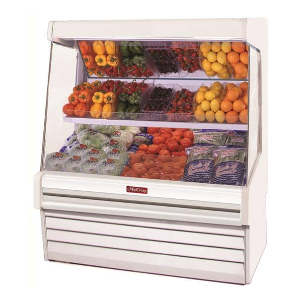 Howard-McCray SC-OM30E-5L-S-LED 63.00'' Stainless Steel Vertical Air Curtain Open Display Merchandiser with 2 Shelves