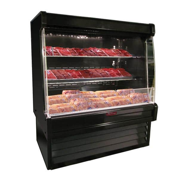 Howard-McCray SC-OM35E-4L-B-LED 51.00'' Black Vertical Air Curtain Open Display Merchandiser with 2 Shelves
