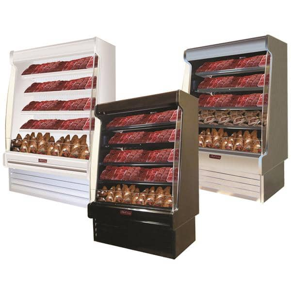 Howard-McCray SC-OM35E-6S-S-LED 75.00'' Stainless Steel Vertical Air Curtain Open Display Merchandiser with 4 Shelves
