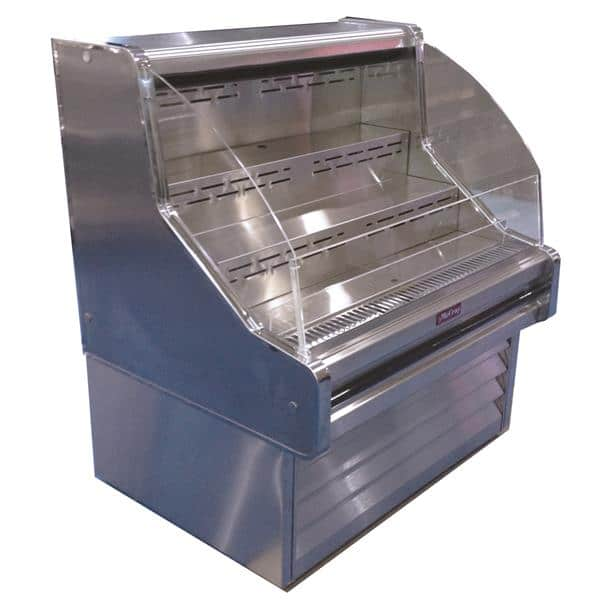 Howard-McCray SC-OS30E-6C-S-LED 75.00'' Stainless Steel Horizontal Air Curtain Open Display Merchandiser with 3 Shelves