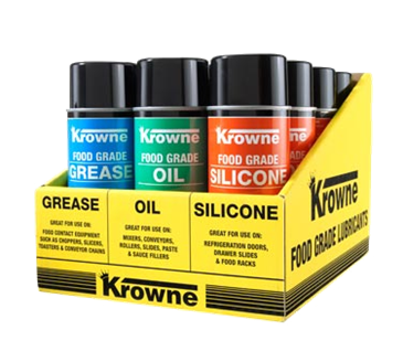 Krowne Metal Metal 30-210 Krowne Food Grade Lubricants 12 Can Display Case. Display includes yellow display case tray and four (4) each of Food Grade Grease