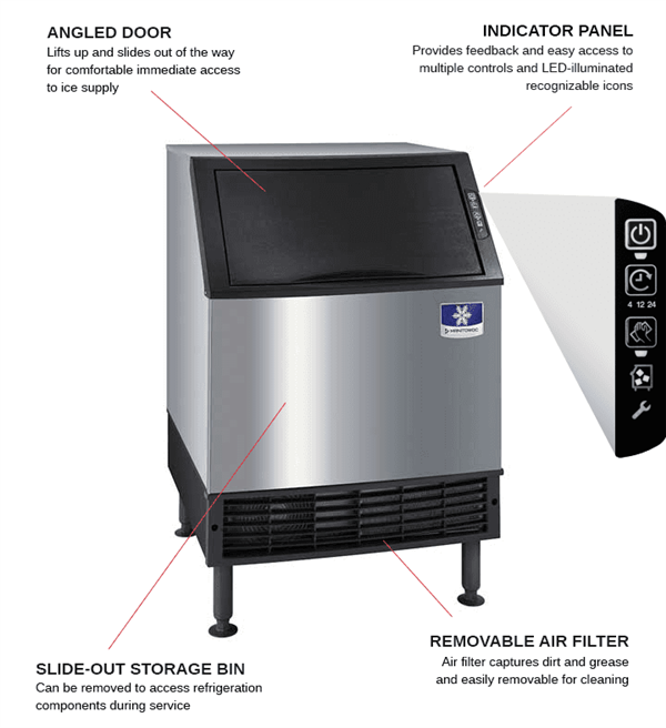"""Manitowoc UDF0240W 26"""" Full-Dice Ice Maker With Bin, Cube-Style - 100-200 lbs/24 Hr Ice Production, Water-Cooled, 115 Volts"""