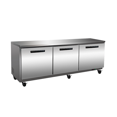 Maxx Cold MXCF72U 71.50'' 3 Section Undercounter Freezer with 3 Left/Right Hinged Solid Doors and Side / Rear Breathing Compressor