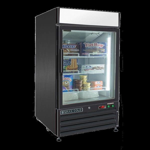 Maxx Cold MXM1-12FB 25.00'' 12.0 cu. ft. 1 Section Black Glass Door Merchandiser Freezer