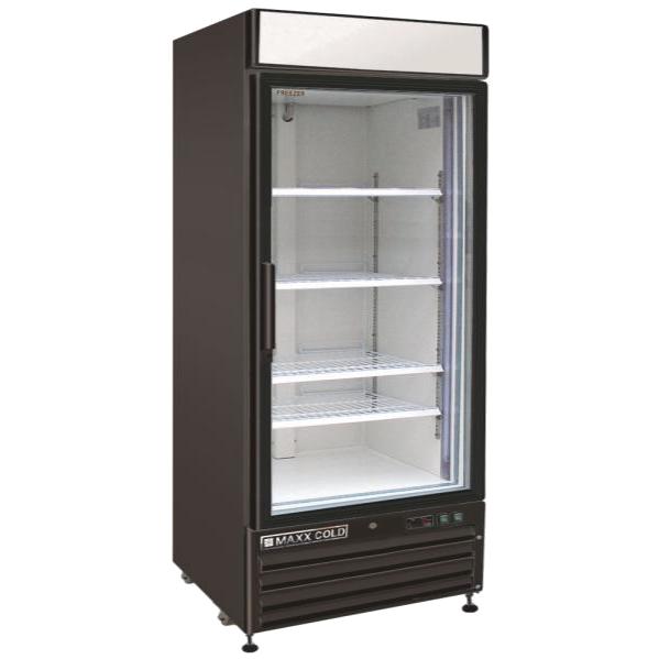Maxx Cold MXM1-16FB 25.00'' 16.0 cu. ft. 1 Section Black Glass Door Merchandiser Freezer