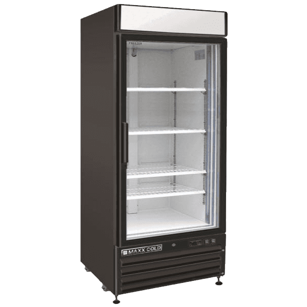 Maxx Cold MXM1-16RB 25.00'' Black 1 Section Swing Refrigerated Glass Door Merchandiser