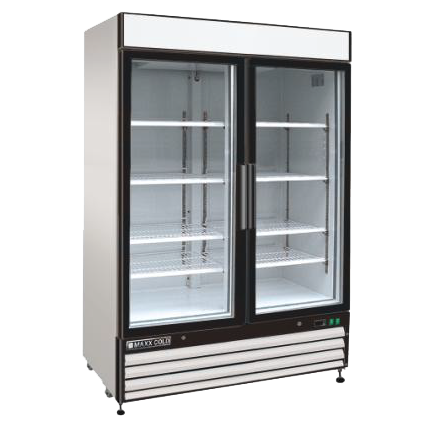 Maxx Cold MXM2-48R 54.00'' White 2 Section Swing Refrigerated Glass Door Merchandiser